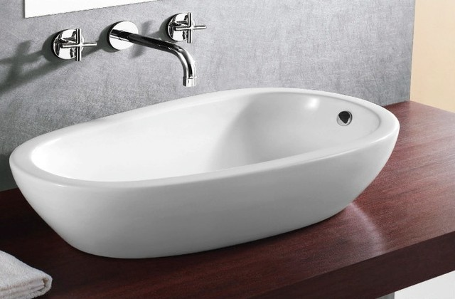 Oval Sink Bathroom : ... Oval Shaped Ceramic Vessel Bathroom Sink contemporary-bathroom-sinks