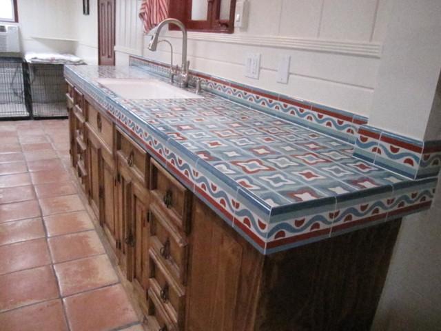 Rustic Kitchen Counter Mediterranean Orange County