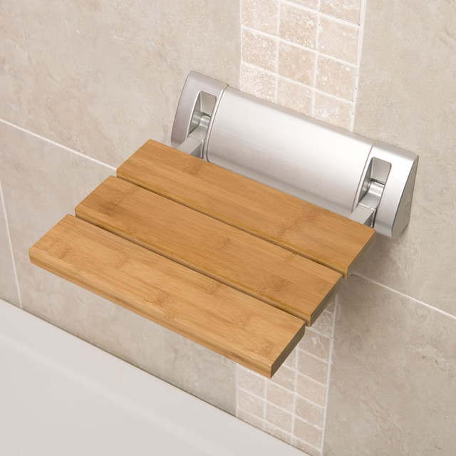 Bamboo Wooden Folding Shower Seat Wide Base Bathroom Accessory Fixture Contemporary Shower