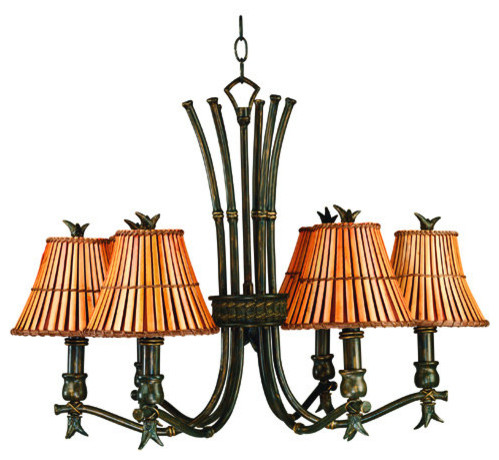 Kenroy Home 90456 6 Light Up Lighting Chandelier from the Kwai Collection tropical-chandeliers