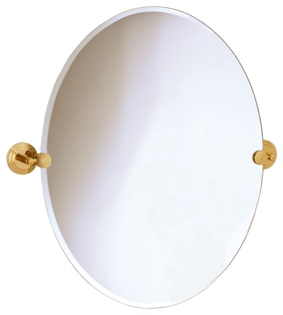 "Contemporary Gatco Marina Brass Finish Oval 26 1/2"" High Wall Mirror contemporary-mirrors"