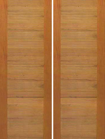 Solid Wood Double Door, Contemporary Horizontal Groove Flush Panel contemporary-front-doors