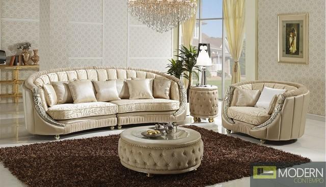 Luxurious Italian Leather Living Room Furniture: Three Piece Italian Luxury Sofa Set