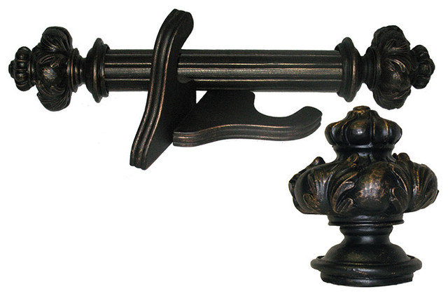 Royal Crown Antique Bronze Wood Curtain Rod Set Contemporary Curtain Rods By