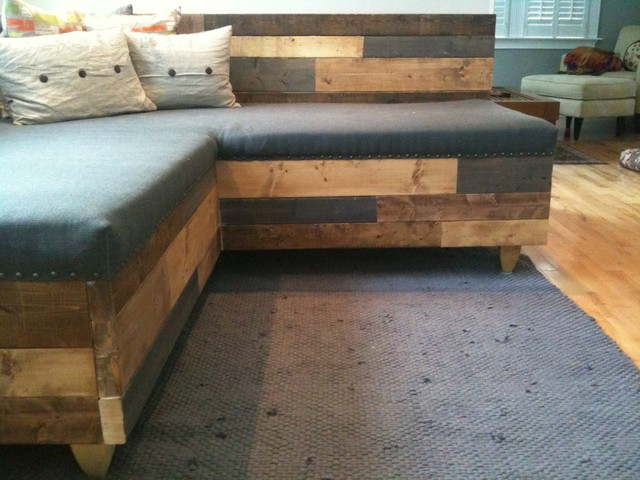 Custom reclaimed wood modern industrial sofa for Industrial couch