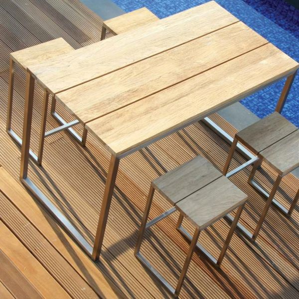 Outdoor Teak Bar Height Dining Table Outdoor Pub And Bistro Tables