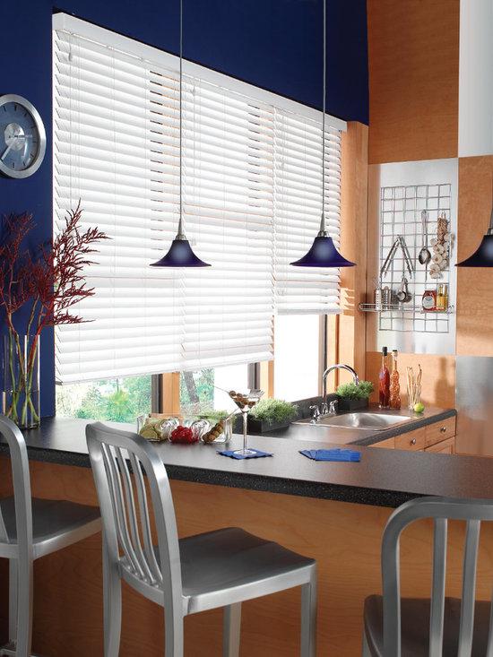 "Bali® Wood Images 2"" Composite Wood Blinds - Bali® Wood Images 2"" Composite Wood Blinds capture the essence and look of real wood blinds, while the moisture resistant slats are perfect for high humidity areas like bathrooms and kitchens.  The advanced polymer coating is also resistant to scratches and dents, making them perfect for high-usage applications.  Popular solid whites and off-whites as well as streaked colors can brighten any decor.  These fine blinds carry a Limited Lifetime Bali Warranty against defects."