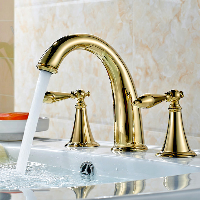Suex ti pvd gold widespread bathroom sink faucet for Gold bathroom sink taps