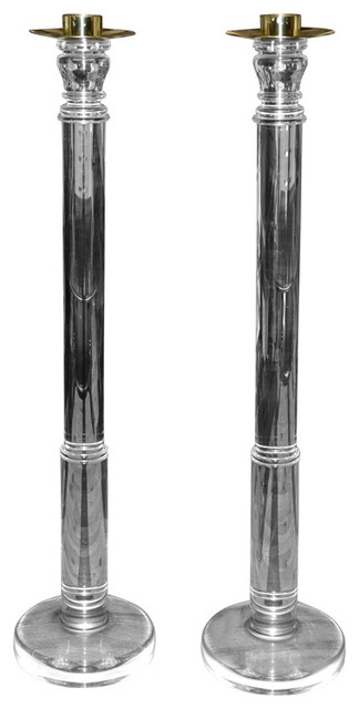 Two Large 1970s Candleholders traditional-candleholders