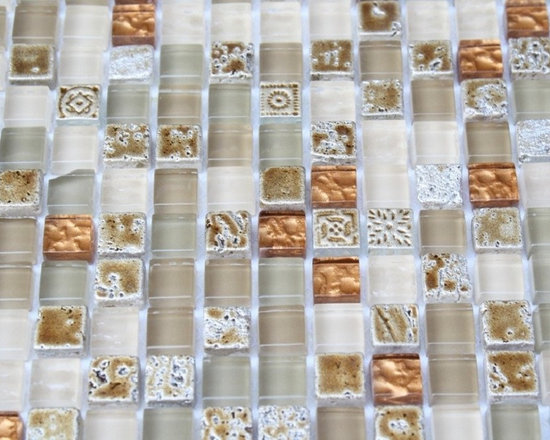 ALLOY DECO EGYPTIAN SAND SQUARES GLASS AND STONE MOSAIC TILE - This Glass and Stone Tiles striking blend of polished glass in beige, cream, metallic copper and gold painted foiled will give a luminescent quality to any bathroom, kitchen, or pool installation. The combination of the deco and the polished glass will give any room a bright and  fresh look.
