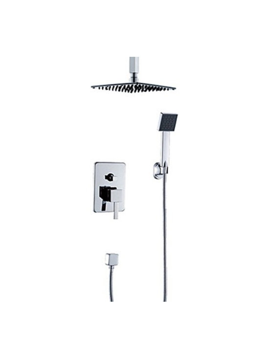 Shower Faucets - Contemporary Chrome Finish Shower Faucet with 20 Inch Shower Head and Hand Shower--FaucetSuperDeal.com