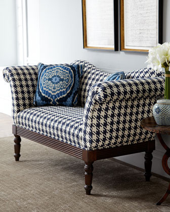 Indigo Houndstooth Settee traditional love seats