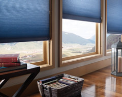 Energy Efficient Honeycomb shades with sidetracks modern cellular shades