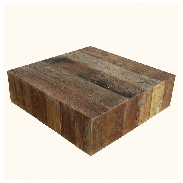 Rustic old wood square box style coffee table rustic coffee tables