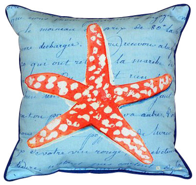 Betsy Drake Coral Starfish Blue Pillow- Indoor/Outdoor beach-style-outdoor-pillows