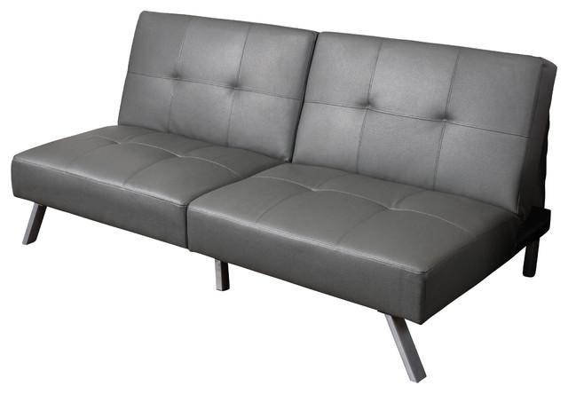 Heston Vinyl Clack Futon Sofa Bed Grey Modern