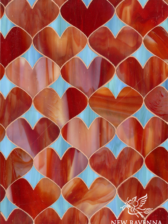 Erin Adams - Hearts - Hearts, a glass waterjet mosaic shown in Garnet and George, is part of the Erin Adams Collection for New Ravenna Mosaics.