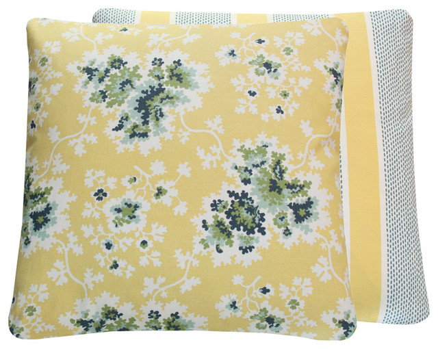 Duralee Tilton Fenwick Yellow Floral Throw Pillow, 20x20 traditional-decorative-pillows