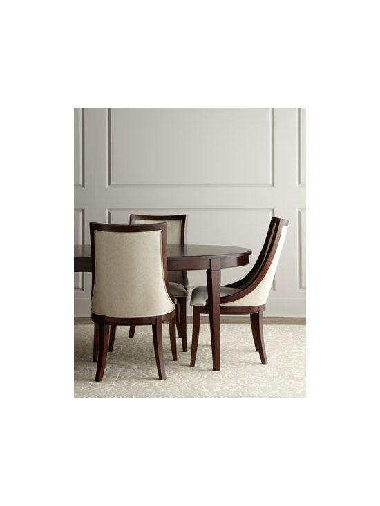 """Horchow - Allerton Dining Set - Finely crafted of ribbon-stripe mahogany and select hardwoods, this dining furniture features a beautiful grain enhanced by a """"merlot mahogany"""" finish. Cream-colored fabric is polyester. Save with discounted delivery and processing charges when you orde..."""