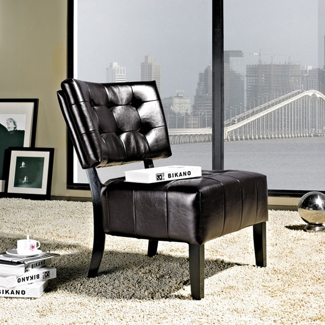 Livingston Dark Brown Accent Chair -Bonded Leather Armless Accent Chair modern-armchairs-and-accent-chairs