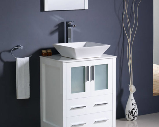 Fresca - Fresca Torino 24 White Modern Bathroom Vanity w/ Vessel Sink - Featuring frosted glass panels and a white finish for a fresh, modern look, the Torino 24 vanity from Fresca is perfect for a smaller bathroom. Made to a high quality to ensure long lasting durability, this vanity incorporates ample space for keeping toiletries neatly hidden away from view. This vanity comes complete with the ceramic vessel sink, which adds a touch of chic, contemporary style. Torino Bathroom Vanity Details:   Dimensions: Vanity: 24W x 18 1/8D x 35 5/8H Material: Plywood with Veneer, ceramic vessel sink Finish: White Please note: faucet not included