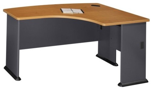Bush A-Series Right L-Bow Desk in Natural Cherry and Slate contemporary desks