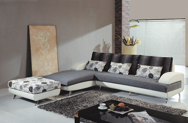 Martino Leather Fabric Sectional S208B Modern