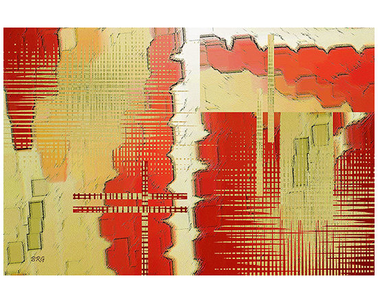 Trip To The Past by Ben and Raisa Gertsberg - canvas art, art print, giclee - Modern geometric abstraction in shades and colors of red, orange and yellow. Square shapes, broken interlacing lines, jagged patterns and rich textures are reminiscent of ancient cave walls with old drawings, scratches on stones and rocks - your imagination will take you on a long journey to places that were once inhabited or visited by our ancestors.