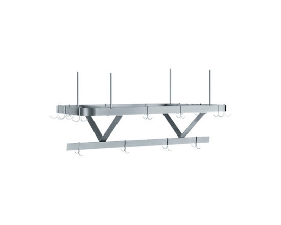 """Whitehaus Collection - Whitehaus CUSC48WHX 48"""" Culinary Equipment stainless steel pot rack - Satin Stainless Steel ceiling hung pot rack"""