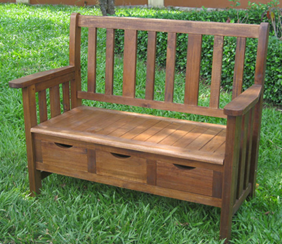 3-drawer Large Acacia Bench with Arms traditional outdoor stools and benches