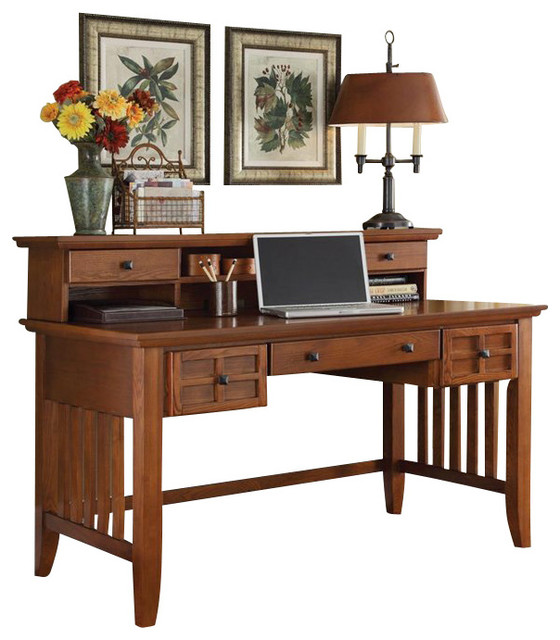 home styles arts and crafts executive desk and hutch. Black Bedroom Furniture Sets. Home Design Ideas