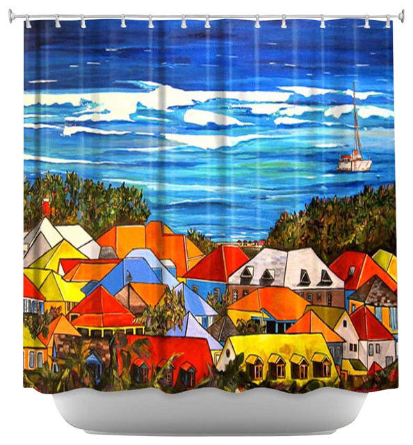 Shower Curtain Artistic - Colors of St. Martin contemporary-shower-curtains