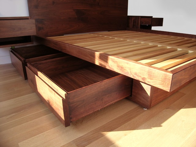 Platform Bed with Drawers Contemporary Beds