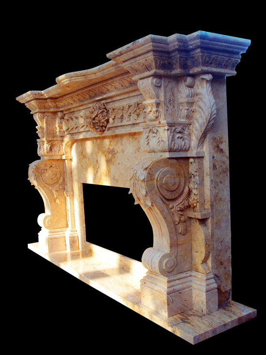 Hand Carved Italian Marble Fireplace Surround Custom Designed, Honed Travertine - Bloss Stoneworks Co.