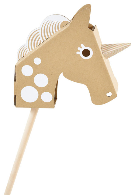 Little Unicorn Head Cardboard Toy contemporary-kids-toys-and-games