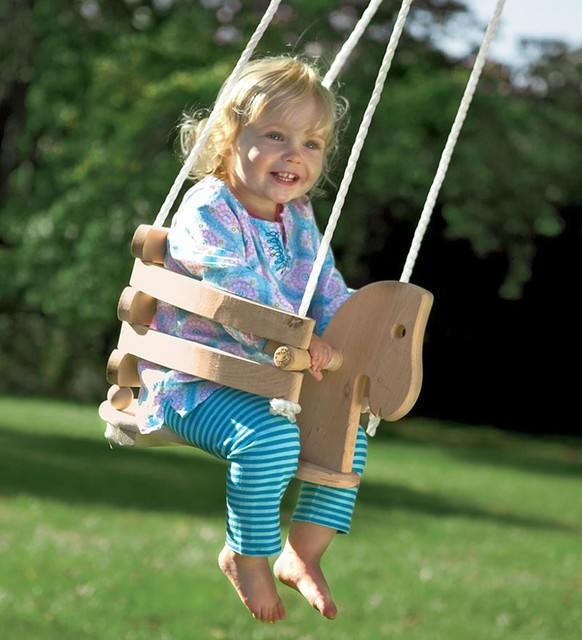Wooden Horse Swing contemporary baby swings and bouncers