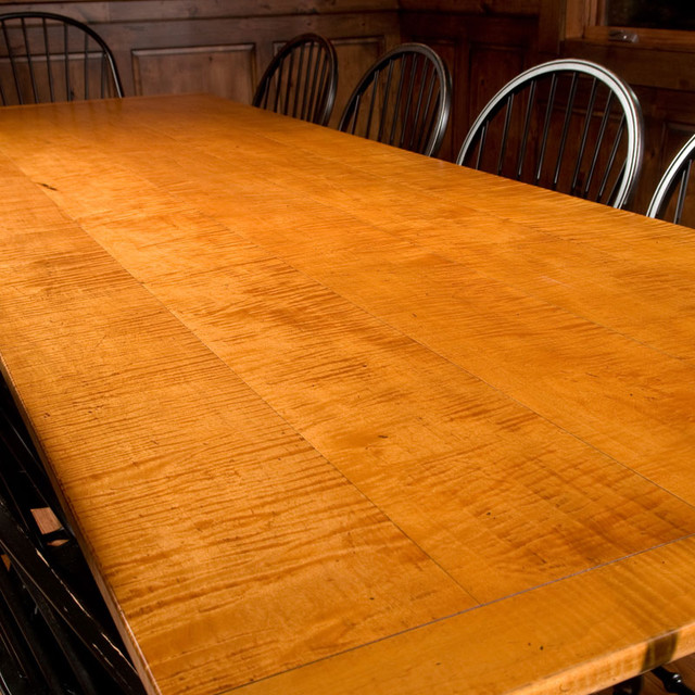 Designs in Wood Tiger Maple and Black Harvest Dining Table contemporary-dining-tables