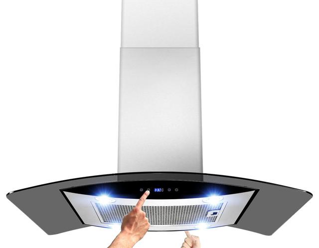 Akdy ak zh603b euro stainless steel island mount range for Modern kitchen vent