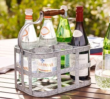 Galvanized Metal 6-Pack Drink Caddy modern-outdoor-decor