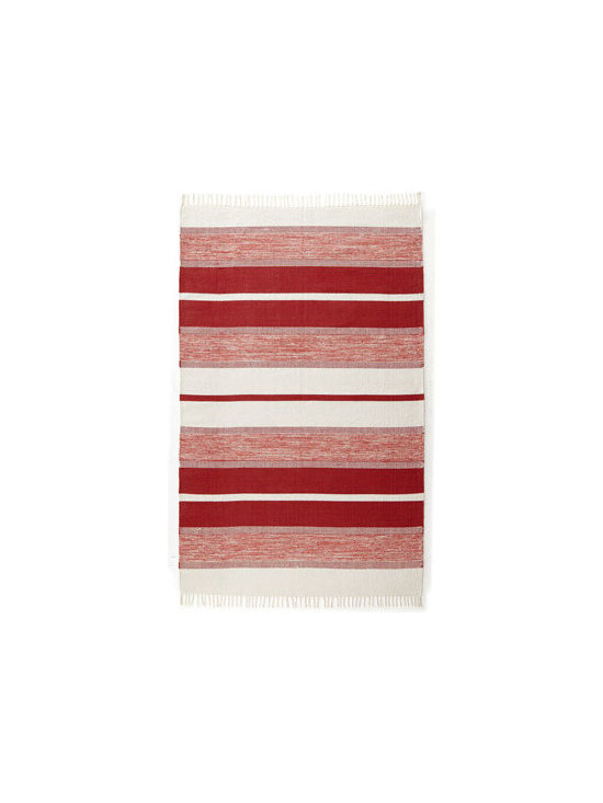 "Horchow - Red/White ""Blasio Stripes"" Rug, 5' x 8' - A repeating pattern of alternating wide and narrow stripes in varying shades of red and white adds balance to this handmade, hand-trimmed flatweave rug. Made of dyed Indian cotton. Durable and intended for foot traffic. Size is approximate. Imported."