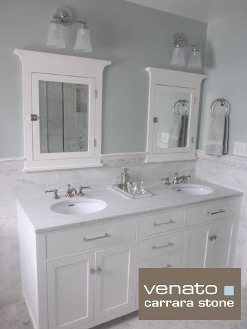 "$7.00SF Carrara Subway Tile Marble 3x6"" traditional-bathroom"