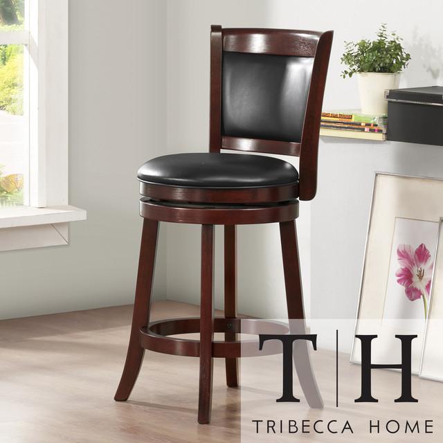 TRIBECCA HOME Verona Cherry Swivel 24-inch Counter Height