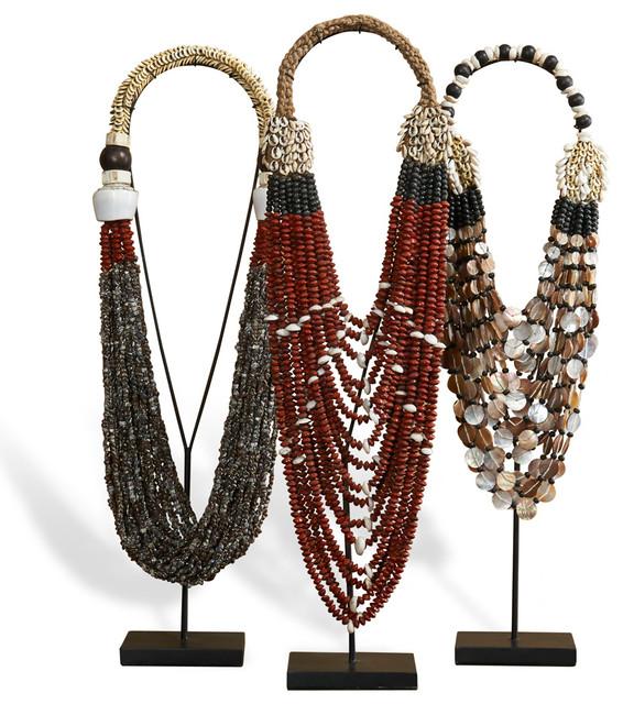 Kejeta Global Bazaar Beauty Tribal Necklaces - Set of 3 transitional-sculptures
