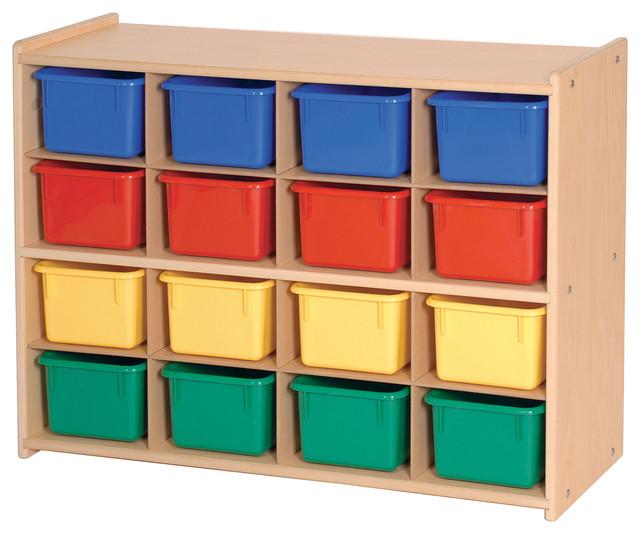 steffywood kids playroom toy bin organizer 16 tray cubby. Black Bedroom Furniture Sets. Home Design Ideas
