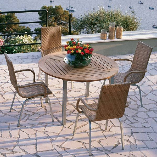 Samba Round Outdoor Teak Dining Table and Chairs Outdoor Dining Sets chic