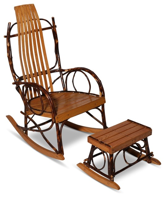 Consigned Vintage Amish Bentwood Rocker And Footstool Rustic Outdoor Rocking Chairs By F