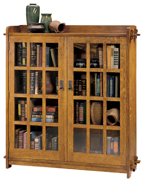 Stickley Double Bookcase With Glass Doors 89 645
