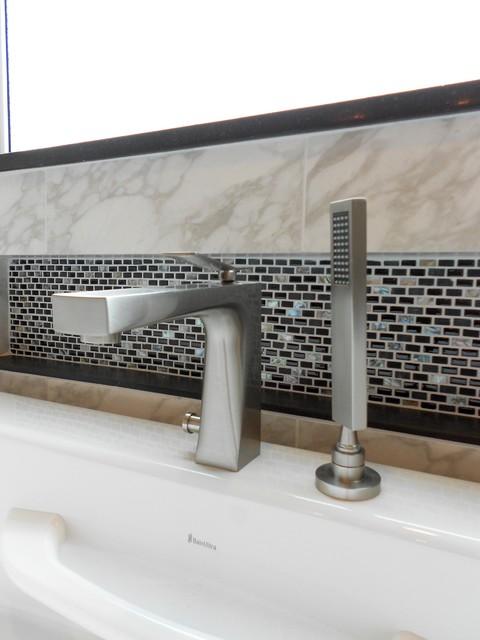 Sleek, Seamless Bath Update modern-bathroom