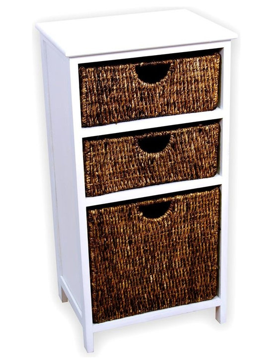 America Basket - White Finish Storage Shelf w 3 Differently Sized Sea Grass Baskets - 3 Baskets included. Each basket is constructed of high quality sea grass with a warm walnut color.. The frame is made of solid wood with a white finish.. No Assembly required. Warrantied against manufacturing, workmanship and parts defects upon arrival. 17 in. L x 12.5 in. W x 32 in. H (10 lbs.)This compact basket storage shelf is ideal for storage of your home decor, office supplies, or any of your organizational needs. This versatile basket storage shelf is sure to offer you a convenient storage solution, while adding style and warmth to any room.