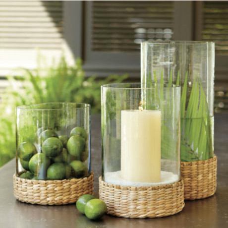 SL Seagrass Hurricane tropical candles and candle holders